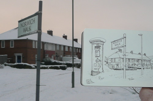 sketching burnt oak in the snow
