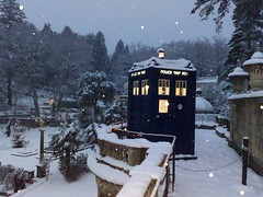 The Tardis lands in Portmeirion in a snowstorm (Tony Worrall Foto) Tags: uk copyright snow cold wales architecture buildings thevillage coast tv interesting day village snowy doctor fantasy doctorwho freeze portmeirion snowing drwho tardis chill policebox bluebox theprisoner northwales dangerman uksnow portmeirionvillage tonyworrall