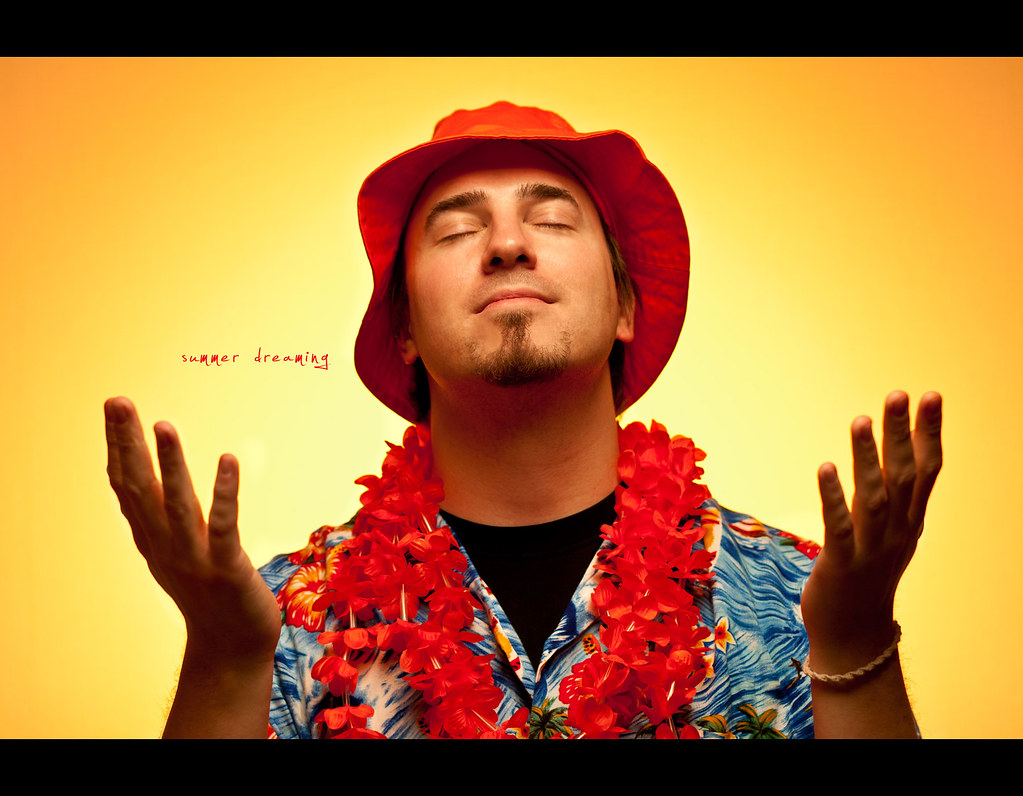 Day 140, 140/365, Project 365, Self Portrait, Strobist, ourdailychallenge, warm, sun, summer, summer feeling, bacardi feeling, hat, flowers hawaii, light, Pocket Wizard Plus II, PocketWizard Plus II, Sb-80dx, strobist, project365, kate yanai, 50mm, Sigma 50mm F1.4 EX