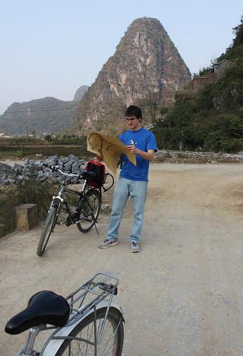 Biking to Dragon Bridge in Yangshuo, day 47
