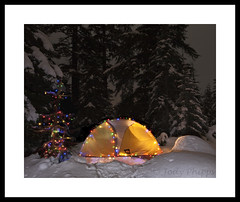 Season's Greetings (RU4SUN2) Tags: christmas camping trees winter snow night snowshoe washington tent christmaslights snowshoeing rei snoqualmiepass christmas2010