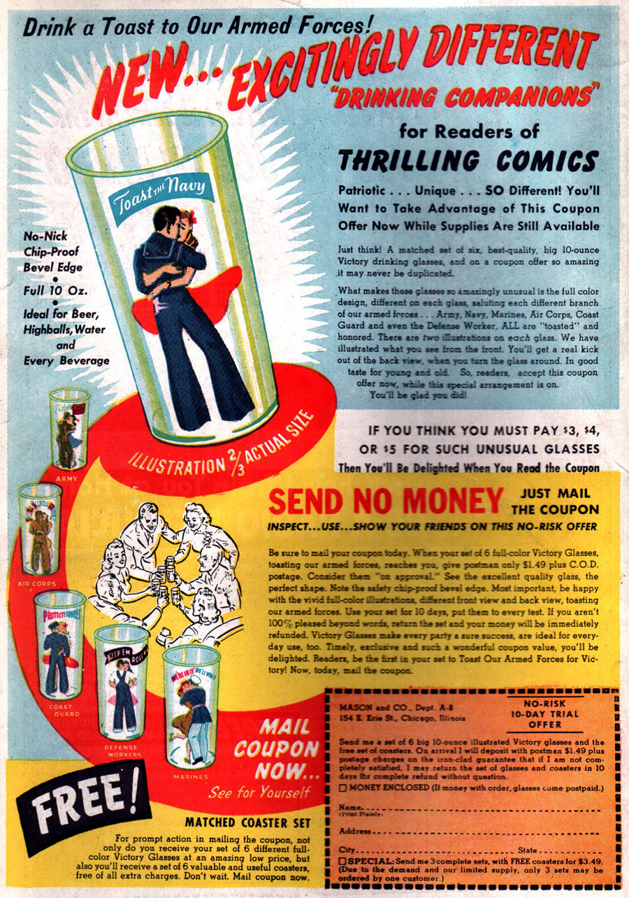 Thrilling Comics #36 - Drinking Glasses (July 1943)