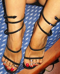 Caovilla strappy sandals and toerings (al_garcia) Tags: feet high shoes sandals heel mules smelly toenails toerings