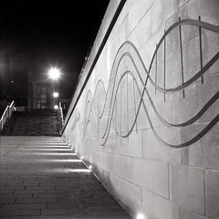 King's Walk (boscoppa) Tags: uk england bw 120 6x6 film night zeiss newcastle gate university walk arches kings ikon ilford fp4 newcastleupontyne tyneandwear nettar