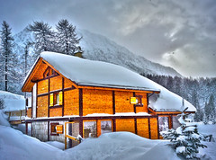 Snow story (maistora) Tags: wood winter light sunset sky italy house mountain holiday snow ski france alps cold tree mobile fog pine clouds alpes dark evening wooden cozy warm day glow skiing phone postcard sonyericsson story hut fairy card winner duel chalet alpha greeting tale bungalow montgenevre maistora c905 lpwhite yahoo:yourpictures=weather