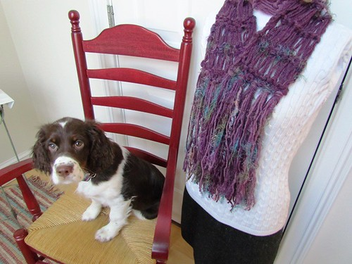 Handmade Scarf Knit Body Decor Designer Scarves Eggplant Heather Amethyst with Bountiful Fringe