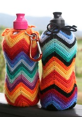 water bottle holders (rettgrayson) Tags: wool ripple crochet zigzag waterbottle bottleholder