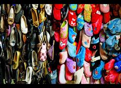 Shoes Heaven (jotemel) Tags: blue red colors outside shoes vivid arab syria souk damascus plenty bazar