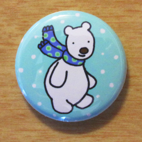 Polar Bear With Scarf - Button 01.05.11