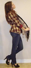 Jan. 11, 2011 OTD (RikkiEver) Tags: red black streets fall girl fashion scarf diy necklace outfit clothing beige heart top coat platform tan remix tie style wear clothes jeans bow flannel heels layer denim how fold scarves plaid attire vneck wardobe otd straightleg