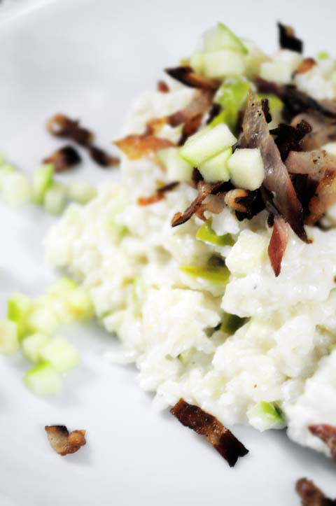 risotto granny smith, bacon e ricotta