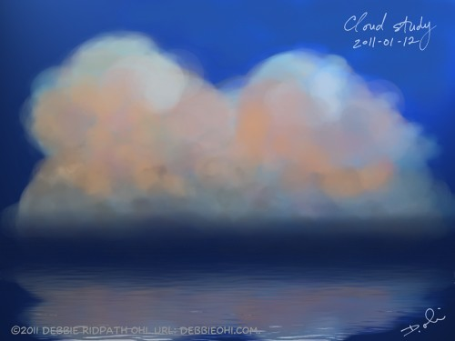 Corel Painter experiment: cloud study with reflections on water