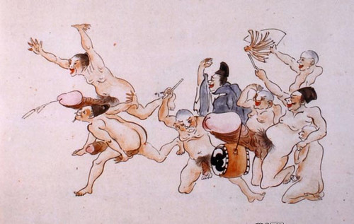 欢快的日本江户时代绘画作品