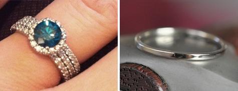 blue diamond wedding set by JA Sharp Custom Jewelers and Seababe Jewelry skinny palladium wedding band