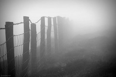 (andrewlee1967) Tags: moors saddleworth fence grass canon50d andrewlee1967 uk gb england britain sigma18200mm fog mist bw blackandwhite andrewlee