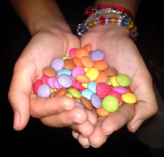 Saturdays are for Share (GloriaGarca) Tags: colors hands candy saturday smarties share