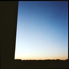 (masaaki miyara) Tags: blue sunset sky orange moon 6x6 composition mediumformat star twilight crescent ブルー 夕暮れ 空 オレンジ 夕方 hasselblad500cm 星 三日月 グラデーション たそがれ コンポジション 中判 kodakportra400c 陽が沈む マンションからの眺め 建物の影