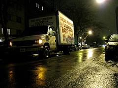 Delivery (Flint Foto Factory) Tags: street city winter urban snow chicago cold reflection rain graffiti slick furniture granville north january freezing sheridan kerb curb kenmore edgewater movers 2010 lateafternoon earlyevening movingvan deliveryvan parkinglights parkinglamps