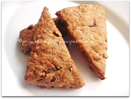 Eggless Raisin & Chocolate Scones