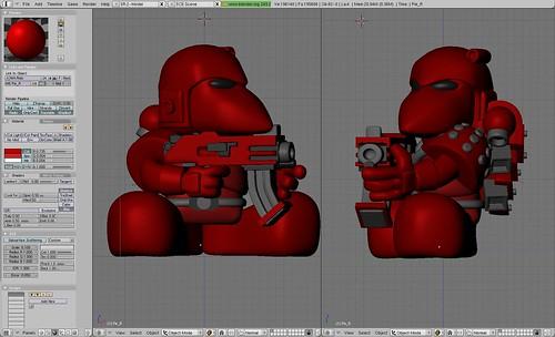 W.I.P. - Narizón marine espacial, con casco, disparando