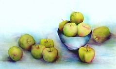 Green Apples (Ani Kin) Tags: stilllife art fruit watercolor painting watercolour stillife