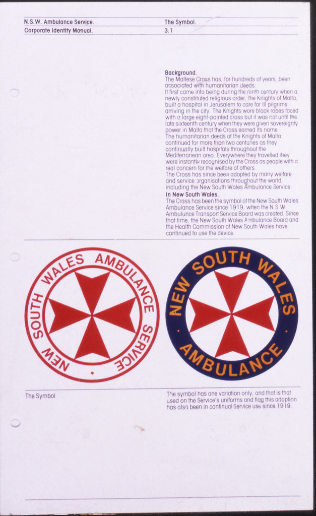 Extract from Ambulance Service Style Manual 1980