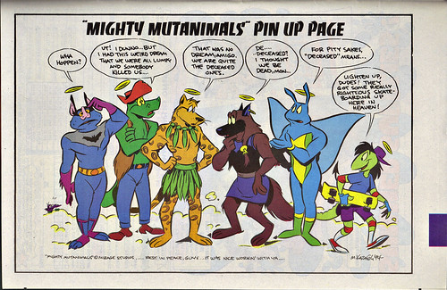 "Teenage Mutant Ninja Turtles Adventures #61 , ""MIGHTY MUTANIMALS"" PIN-UP PAGE .. art by Mike Kazaleh  (( 1994 ))"