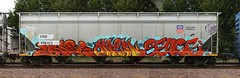 Crabs/Ortek/Sence (quiet-silence) Tags: graffiti graff freight fr8 train railroad railcar art hopper up unionpacific crabs ortek sence tvs cnw490413