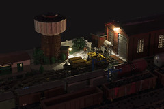 The Train Station at night - the water tower (Maciej Drwiga) Tags: lego train station