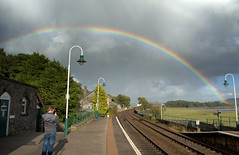 Rainbow at Grange over Sands - 3 (Tony Worrall) Tags: england northern uk update place location north visit area county attraction open stream tour country welovethenorth northwest unitedkingdom cumbria cumbrian grange grangeoversands nature beauty rainbow scene sky natural lovely color colours great station grangestation railway