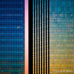 Minneapolis Skyscrapers at Sunset (David M Strom -- On and Off) Tags: lines pattern skyscraper olympusomdem5 colors shapes minneapolis reflections architecture davidstrom abstract sunset minimal idscenter