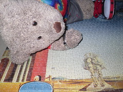 There's a bit broke off! (pefkosmad) Tags: jigsaw puzzle leisure hobby pastime salvadordali outskirtsofcriticalparanoictown art painting soft toy stuffd plush fluffy tedricstudmuffin ted teddy bear