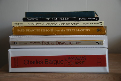 stack of figure drawing books