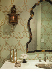 photo34lg (mscott218) Tags: wallpaper green bathroom gold mirror design pagoda bath interiors designer interior lee ann walls chinoiserie interiordesign eclectic thornton tablescape sconces