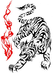 TIGRE (Black Crown . tribal) Tags: white black art design tiger tribal tatoo ilustration