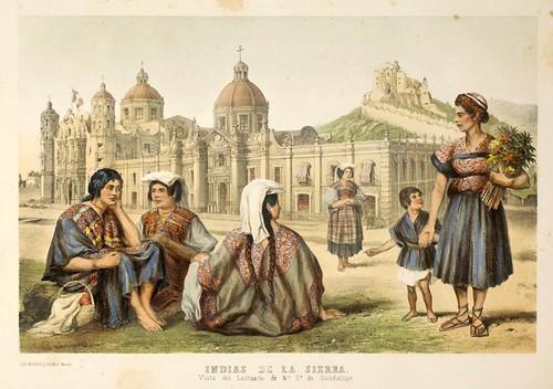 012-Indias de la Sierra y Santurario de Guadalupe- Album Pintoresco de la Republica Mexicana 1850