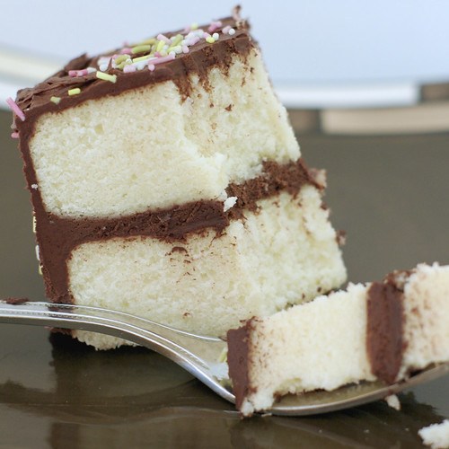White cake with chocolate buttercream frosting