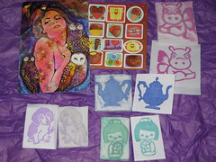 Make a Set of Hand Carved Art Stamps!-International (hippofairy) Tags: beagle wings tea handmade postcard stickers rubber stamp pot swap teapot hippo kokeshi received handcarved swapbot