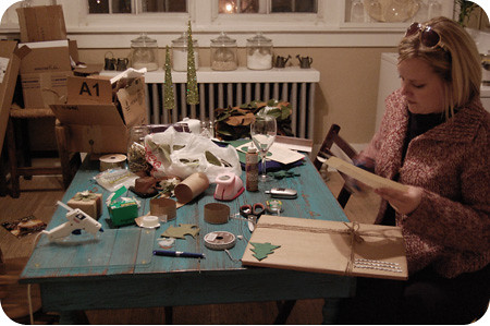 christmas wrapping - the setup (what a mess!)