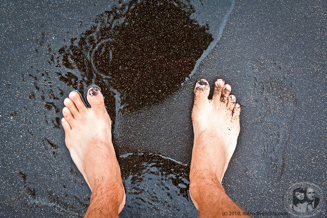 Boris' Feet On The Black Sand Beach Of Santiago