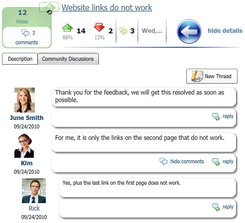 feedback through the customer portal