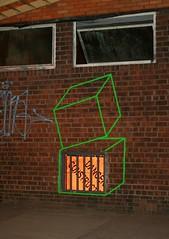 Cubes by Aakash Nihalani, NYC (fotoflow / Oscar Arriola) Tags: street new york city nyc urban usa green art america graffiti us artist box drawing manhattan united tags tape american cube boxes states cubes aakash nihalani