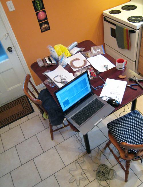 Espace de travail dans la cuisine à Montréal