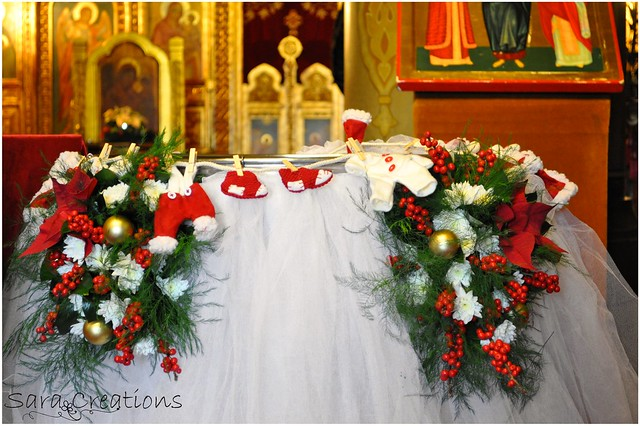Floral arrangement for baptismal font