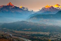 Annapurna Range (Helminadia Ranford) Tags: sunset landscape day clear pokhara annapurnarange serangkot