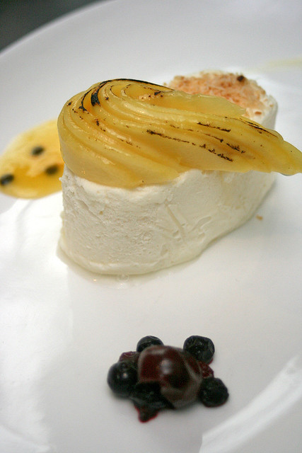 Coconut Parfait - flambé mangoes, toasted dessicated coconut, cinnamon sugar and coated filo pastry