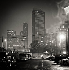 City of Light (Simple Insomnia) Tags: road seattle street two tower rain fog night dark square lights union columbia