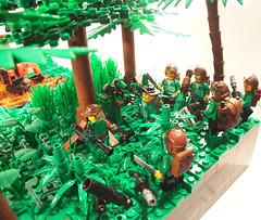 Rumbled in the Legaan Jungle - Rendezvous (Cuahchic) Tags: tree photoshop gun lego jeep flag jungle soldiers cod digger specialforces legaa modernmilitary modernwarfare2 pepenavarez
