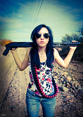 Val (awallphoto) Tags: arizona portrait sky sunglasses hair asian gun dof 28mm az olympus depthoffield val ft f2 e3 shotgun zuiko 43 bwfilter zd 14mm fourthirds awall 1435mm aaronwallace awallphoto