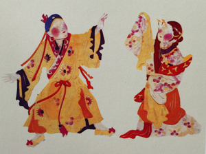 Painting of two opera performers in flowing costumes